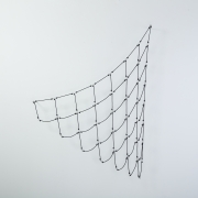 Black Fishnet, 65 x 48 x 6 inches (165 x 122 x 15 centimeters), polyester rope, stainless steel split rings, aluminium rods, o-rings, 2018